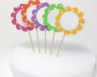 Cupcake Toppers - Flower + Polka Dot