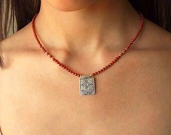 Silver & Red jasper necklace. Silver jewelry. Silver and Red Jasper necklace. Necklace of silver and semi-precious stones.