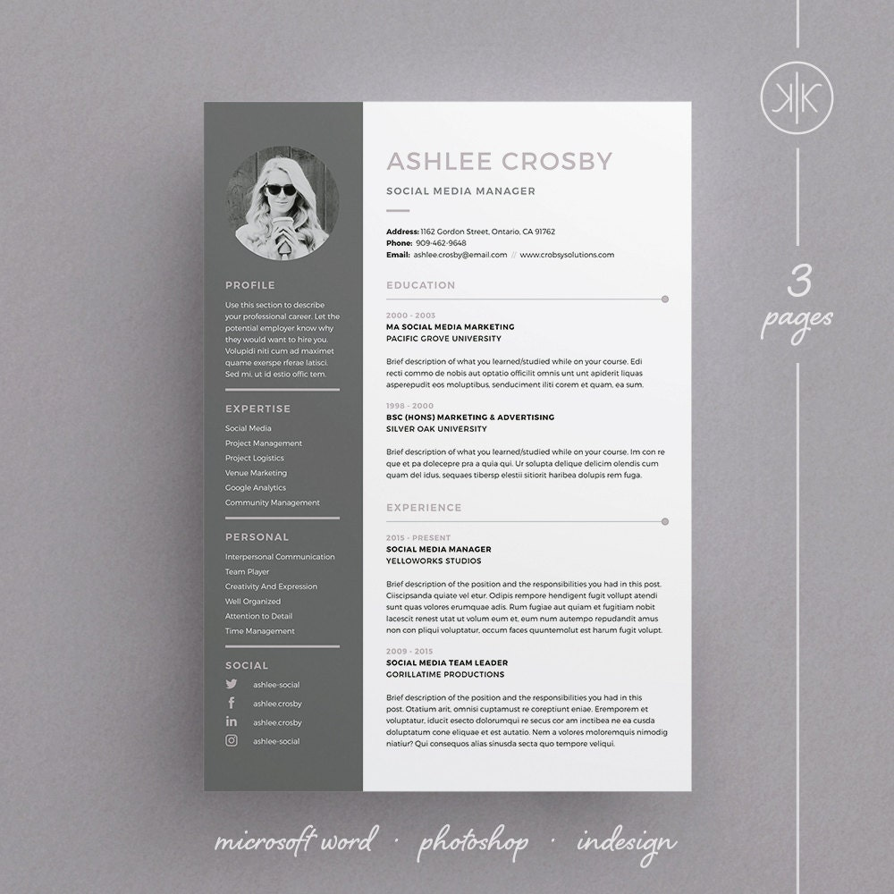 ashlee resume  cv template word photoshop indesign