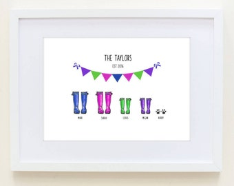 Personalised Family Wellington Boot Print- Personalised Welly Boot Family Print- Wedding gift- New Home Gift