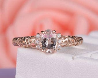 Rose Gold Morganite Engagement Ring Art Deco Cluster Ring Diamond Leaf Shaped Antique Unique Promise Oval Cut Anniversary Gift for Her