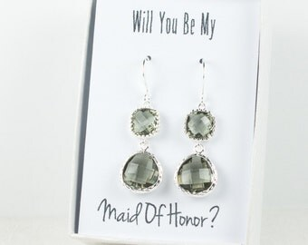 Long Charcoal Silver Earrings, Charcoal Wedding Jewelry, Grey Silver Earrings, Bridesmaid Earrings, Charcoal Bridal Accessories