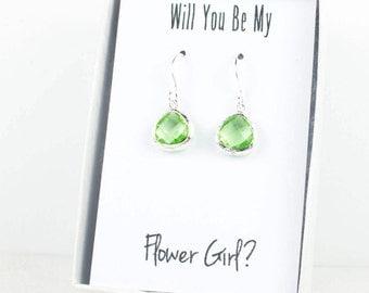 Tiny Peridot Silver Earrings, Small Silver Green Earrings, Green Wedding Jewelry, Bridesmaid Earrings, Green Bridal Accessories