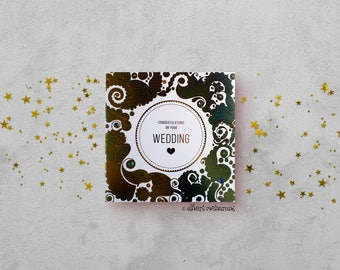Happy Wedding Card - Gold Foil Turquoise Card - Henna Paisley Card - Indian Paisley Card - Hand Finished Card - Unique Card