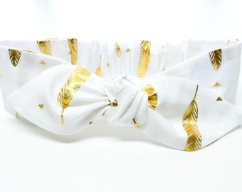 White Gold feather Baby headband, baby hair bows, baby girl headbands and bows, metallic gold and white, feather