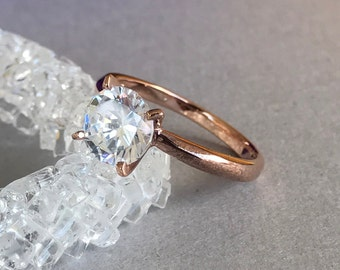 14K Solid Rose Gold Simulated Diamond Ring, Solid 14K Rose Gold Round Cut Engagement And Promise Wedding Solitaire Ring