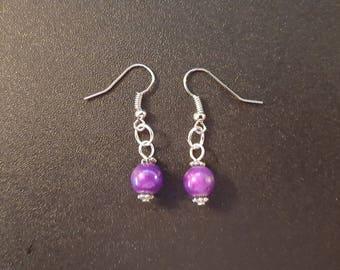 Purple beaded dangle earrings with silver detail