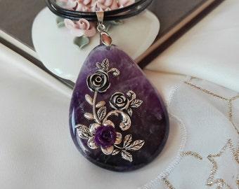 Amethyst Necklace, Unique Necklace, Amethyst Pendant, Gemstone Necklace, Flower Necklace, Filigree Necklace, Art Necklace, Vintage Necklace