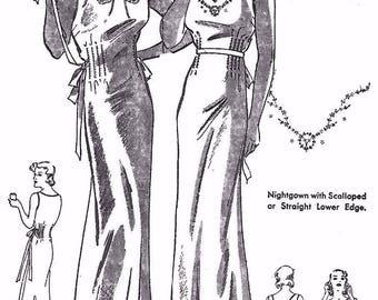 "Vintage 1930's Sewing Pattern Elegant WW1 Nightgown Scalloped Hem B 36"" Rare"