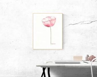 Original Watercolor Painting, Watercolor Flower Painting, Miniature Paintings, Small Paintings, Miniature Art, Poppy Flower Painting, Red