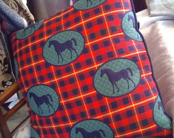 Large pillow quilted cotton tartan with horses