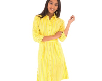 Yellow Shirt Dress Cotton Yellow White Stripe Print Mid Waist Tie Adjustable Sleeves Knee Length with Pockets