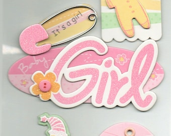 Baby Girl Chipboard 3D Glitter Tag Stickers Forever In Time Scrapbook Embellishments Cardmaking Crafts