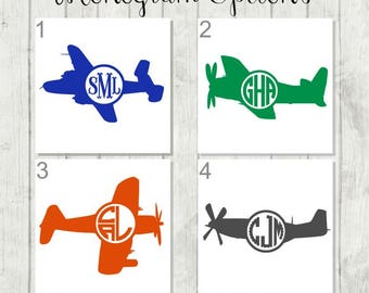Airplane Monogram Decal - Personalized Airplane Decal - Airplane Tumbler Decal - Airplane Party Favors - Boys Monogram Decal - Airplane Gift