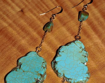 large turquoise stone dangle earrings