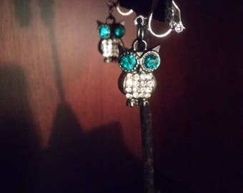 """Black and Blue/Turquoise owl clip-on or pierced earrings """"Night Owl"""""""