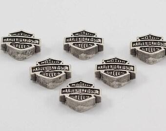 5 Pcs Harley Davidson Logo Beads, 15x11, Antique Silver Beads, Harley Davidson Beads, TTE23