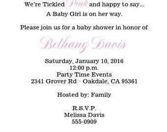 Pink Girls Clothesline Baby Shower Invitation Baby Shower Digital You Print Yourself 5x7