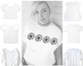 Daisy shirt, flower shirt, Daisy, Daisies, tumblr, Daisy Print, Slouchy shirt, slouchy crop tee, Off shoulder, crop, Plus size too!