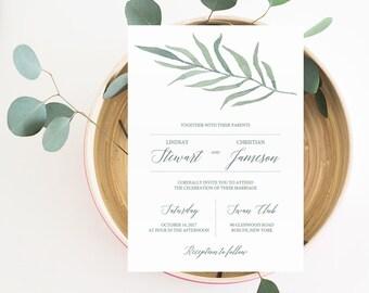 Green Wedding Invitation Printable Template DIY Wedding Invitations Instant Download Leaf Wedding Invitation Eucalyptus Wedding Invitation