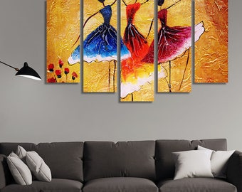 LARGE XL Oil Painting Canvas Print Spanish Dance with Three Female Dancers in Colorful Dresses Wall Art Print Home Decoration - Stretched