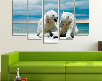 LARGE XL Polar Bears on a Winter Beach at Daytime Canvas Print Two Polar Bear Cubs Canvas Wall Art Print Home Decoration - Stretched