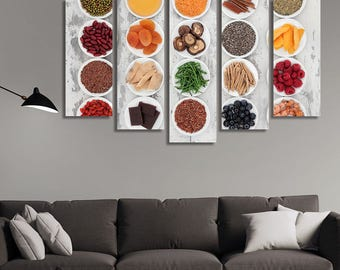 LARGE XL Healthy Selection of Food in Porcelain Bowls Canvas Wall Art Print Home Decoration - Framed and Stretched - 3020