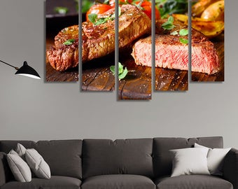 LARGE XL Medium-Rare Beef Steaks Freshly Grilled Canvas Wall Art Print Home Decoration - Framed and Stretched - 3015