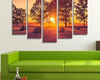 LARGE XL Straw Bales at Sunset Canvas Wall Art Print Home Decoration - Framed and Stretched - 4006