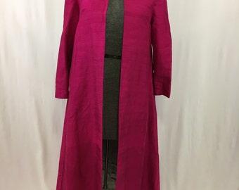 Vintage 1960's A-line pink silk/silver silk-lined jacket