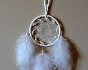 2'' White Dream Catcher with Pearl-like Beads #2D046 . Home decor. Gift idea. Rear View Mirror.