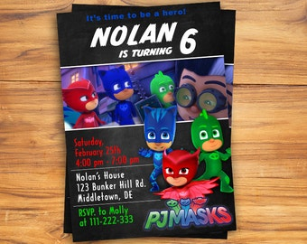 PJ Masks Invitation, PJ Masks Birthday Invitation, PJ Masks Birthday, pj Masks Party, pj masks, Personalized pj Masks Invitation
