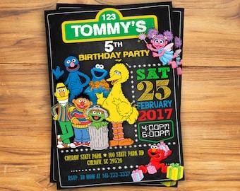Sesame Street Invitation Etsy