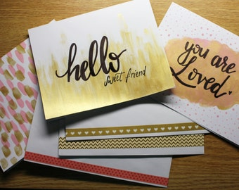 Pink and Gold Card Set of 3