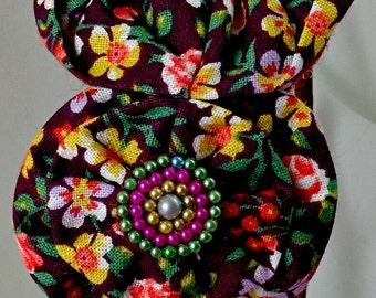 Handmade Pink and Brown Floral Fabric Headband