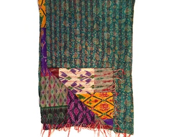 "Kantha Silk Fabric / XL - Scarf ""KAMARHATI"""