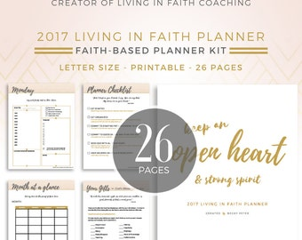 Printable Faith-Based Planner and Devotional // Instant Download // Pink & Gold // 26 Pages
