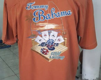 "186- Tommy Bahama camp shirt Large 100% silk ""Fish & Chips"" tag"