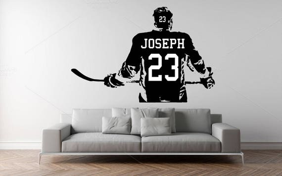 Custom Name Hockey Jersey Wall Decal - Personalized Hockey Name Jersey  - Kids Room Wall sticker - Home Decor - Sport Wall Decal