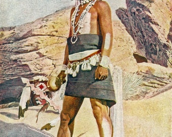 Hopi Warrior - a vintage colored photograph from the 1920's