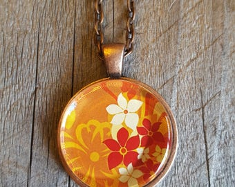 Red White and Golden Flowers Pendant Necklace - Spring Fashion - Summer Fashion - Unique Jewelry - Antique Copper Jewelry