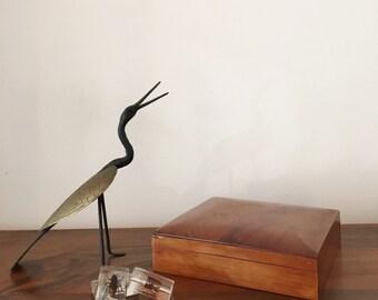 French Vintage Wooden Jewelry Box, Square shape / Boite à Bijoux Vintage Carrée en Bois