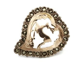 RARE Reindeer Heart Brooch, Sterling Silver And Rose Gold, Sparkling Marcasite, Antique 1920s Jewelry, Deer Pin, Reindeer Jewelry, Edwardian