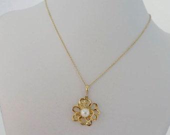 Gold flower pendant, 14K Gold Pendant, cultured pearl pendant, June birthstone, flower pendant, Unique design, solid yellow 14k gold