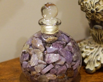 """5"""" Perfume Jar filled with Purple Lepidolite from California for display, specimen, crystal healing."""