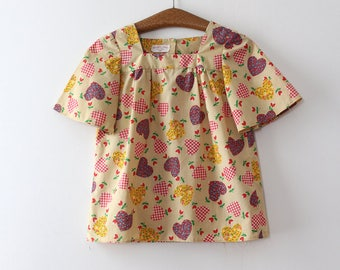 vintage 1970s novelty hearts blouse // 70s tent style top