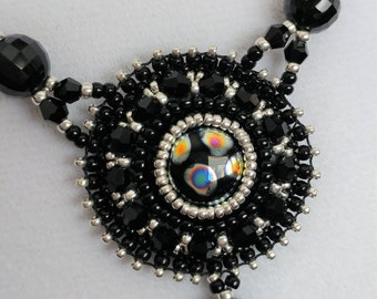 Bead Embroidered Black and Silver Pendant and Chain Necklace