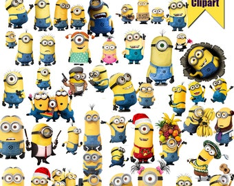 45 Minions ClipArt-Printable Minions PNG Images-Digital Minions Clip Art background files-Minion Scrapbooking-Instant Digital Download
