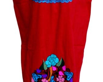 OAXACA Embroidered Mexican DRESS One Size Fits L up 2XL Assorted Colors PEASANT  100 Cotton Women's