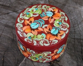 Red box hand painted with chrysanthemum Round wooden jewelry box with lid Mothers Day gift for women Petrykivka patterns gift for her